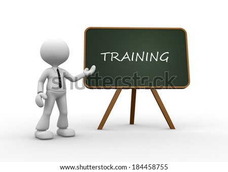 3d people - man, person backboard with words training - stock photo