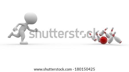 3d people - man, person  bowling having fun. - stock photo