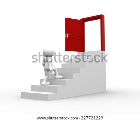 3d people  - man, person climbing on stair. Concept of first step for career growth. - stock photo