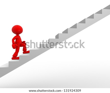 3d people - man, person climbing stairs. - stock photo