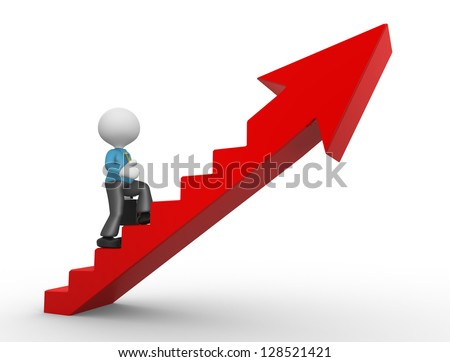 3d people - man, person climbing stairs and an arrow . To Success. Businessman - stock photo