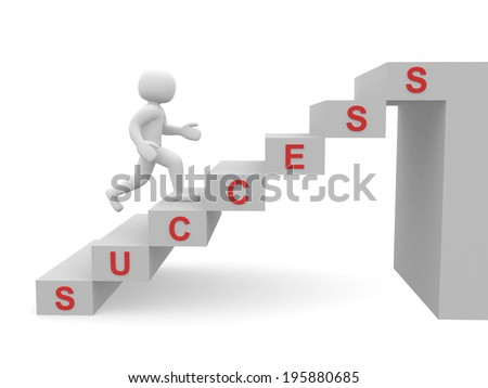 3d people - man, person climbing stairs and word SUCCESS - stock photo