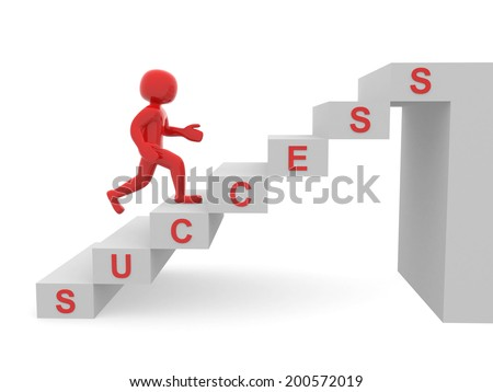 3d people - man, person climbing stairs and word SUCCESS - 3d render - stock photo