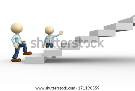 3d people - man, person climbs the ladder - stock photo