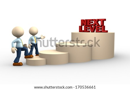 3d people - man, person climbs the ladder of next level - stock photo