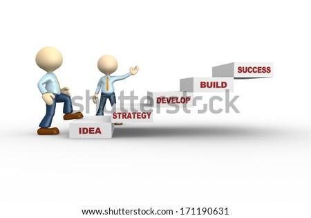 3d people - man, person climping stairs. Concept of success - stock photo