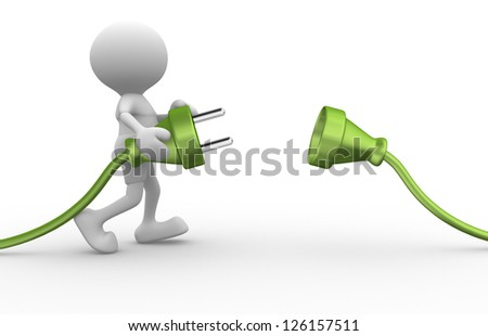 3d people - man, person connected two cables - stock photo