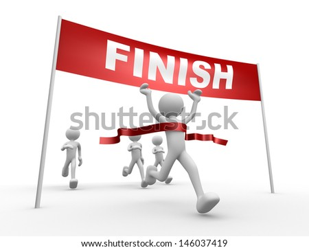 3d people - man, person crossing the finishing line  - stock photo