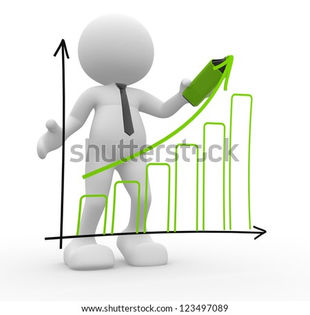 3d people - man, person doing a presentation a graph chart - stock photo