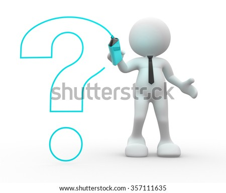 3d people - man, person drawing with marker a question mark - stock photo
