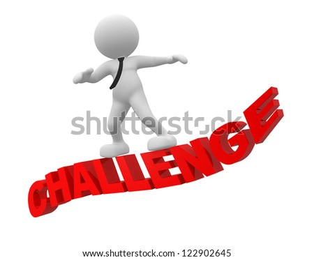 "3d people - man, person flying on word ""challenge "". - stock photo"