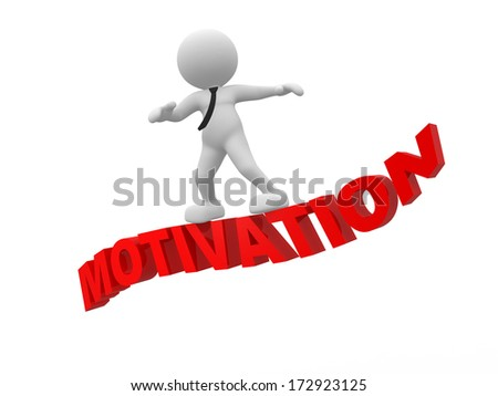 "3d people - man, person flying on word ""motivation"". The concept of motivation - stock photo"