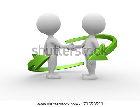 3d people - man, person friendly handshake. Businessmen  - stock photo