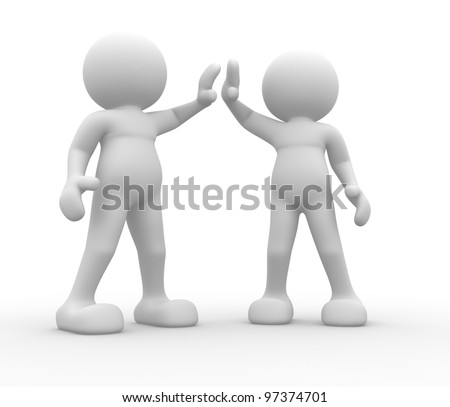 3d people - man, person. Give me five. - stock photo