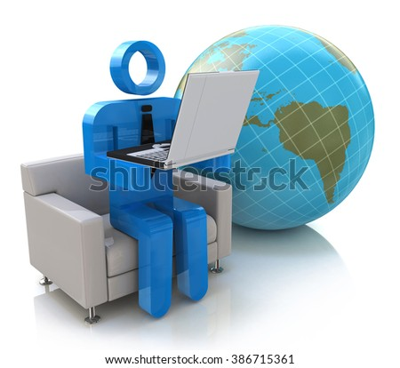 3d people - man, person - Global communication in the design of the information related to the Internet connection - stock photo
