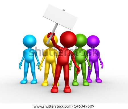3d people - man, person - group leader with banner. Crowd protesting  - stock photo
