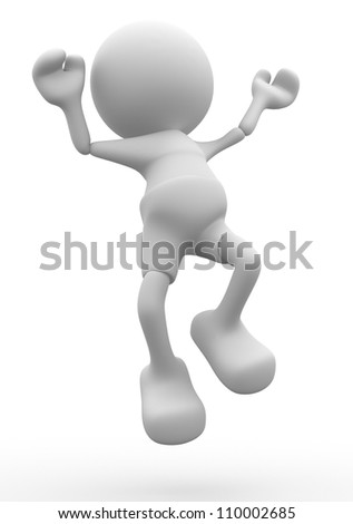 3d people - man, person happy jump in air. - stock photo