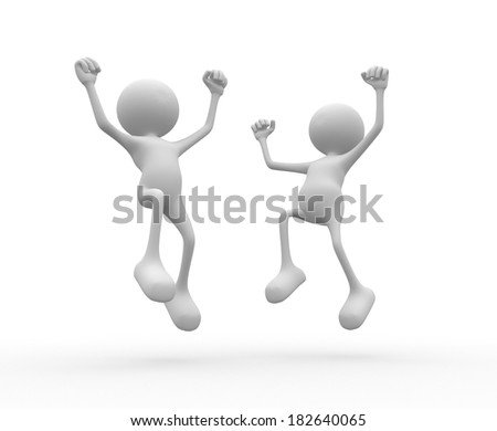 3d people - man, person happy. Success - stock photo