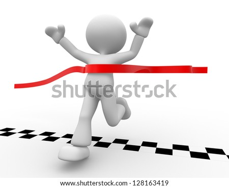 3d people - man, person has reached the finish line. - stock photo