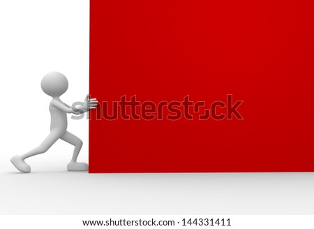 3d people - man, person holding a blank board - stock photo