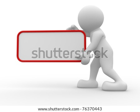 3d people -  man, person holding a blank board