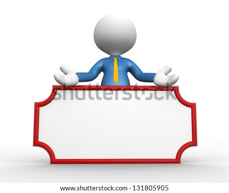 3d people - man, person holding a board