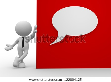 3d people - man, person holding a board with blank bubble - stock photo