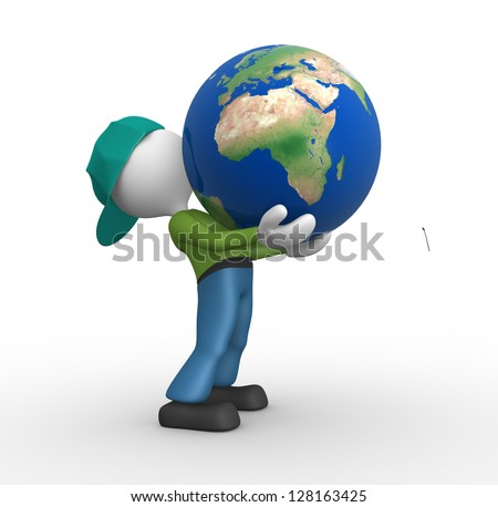 3d people - man, person holding a globe of the Earth. Elements of this image furnished by NASA.