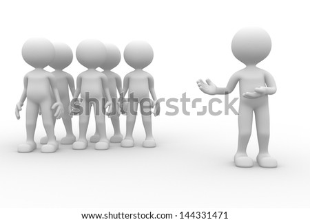 3d people - man, person in group ( businessman). Leader and my team.