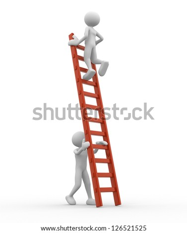 3d people - man, person is helping another to climb a ladder - stock photo