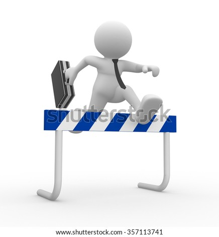 3d people - man , person jump over the barrier. Businessman - stock photo