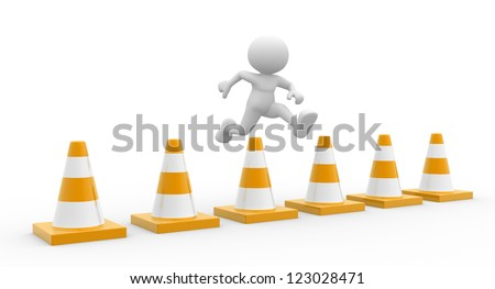 3d people - man, person jumping over traffic cones - stock photo