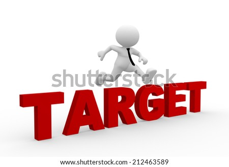 3d people - man, person jumping over word target. - stock photo