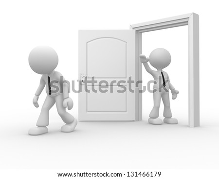 3d people - man, person kicked out the door - stock photo