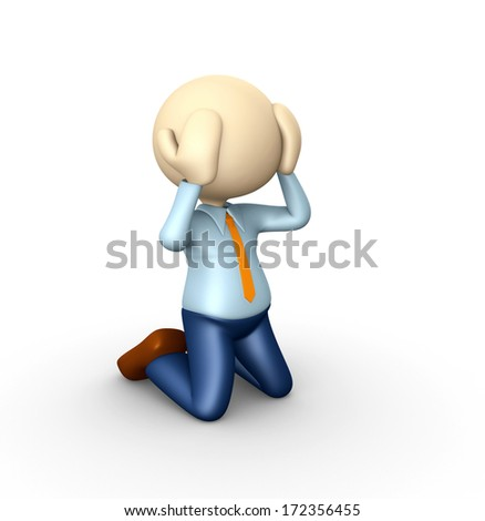 3d people - man, person knees. Sadness - stock photo