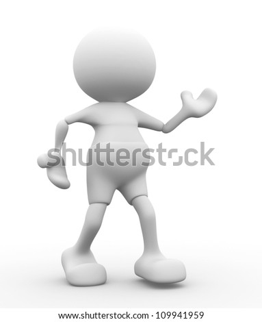 3d people - man, person - mascot. Football player. Caricature - stock photo