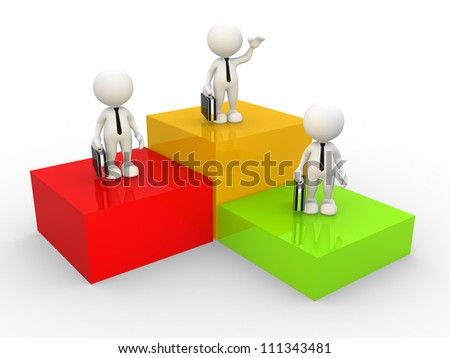 3d people - man, person  on podium with briefcase and tie.  Business competition