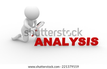 3d people - man, person person looking at the word analysis through a magnifying glass - stock photo