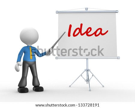 3d people - man, person pointing a flip board and word Idea - stock photo