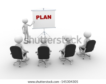 3d people - man, person pointing a flip board and word Plan - stock photo