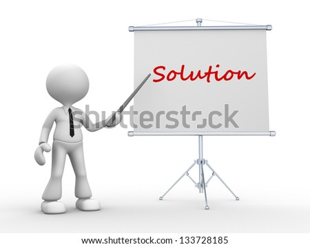 3d people - man, person pointing a flip board and word Solution - stock photo