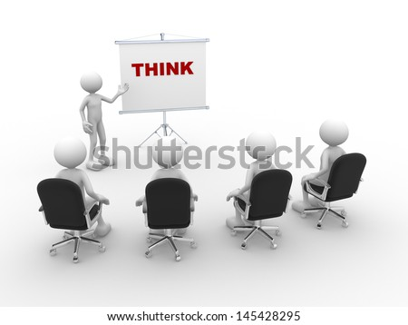 3d people - man, person pointing a flip board and word Think - stock photo