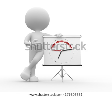 """3d people - man, person  pointing a flipchart with a clock and text """"time to management""""  - stock photo"""