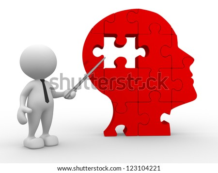 3d people - man, person pointing a human head of pieces puzzle. - stock photo