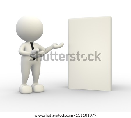 3d people -  man, person present a blank box. Concept of message. - stock photo