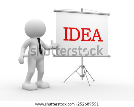 3d people - man, person presenting at a flip-chart. Idea concept - stock photo