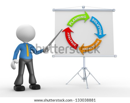 3d people - man, person presenting at flip chart. Strategy concept - stock photo