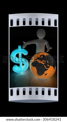 3d people - man, person presenting - dollar with global concept with Earth. The film strip - stock photo