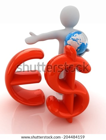3d people - man, person presenting - euro and dollar with global concept with Earth - stock photo