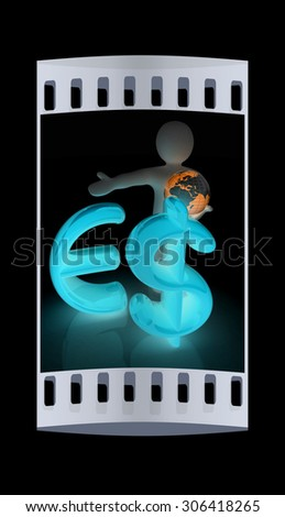 3d people - man, person presenting - euro and dollar with global concept with Earth. The film strip - stock photo